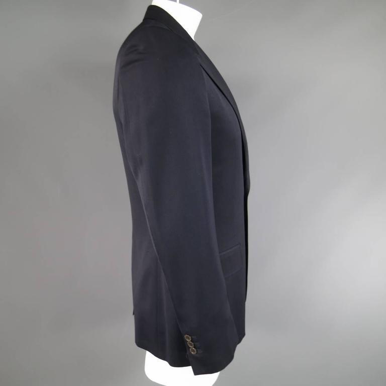Men's YVES SAINT LAURENT 40 Regular Navy Wool Peak Lapel Sport Coat 3