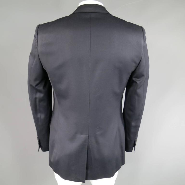 Men's YVES SAINT LAURENT 40 Regular Navy Wool Peak Lapel Sport Coat 4