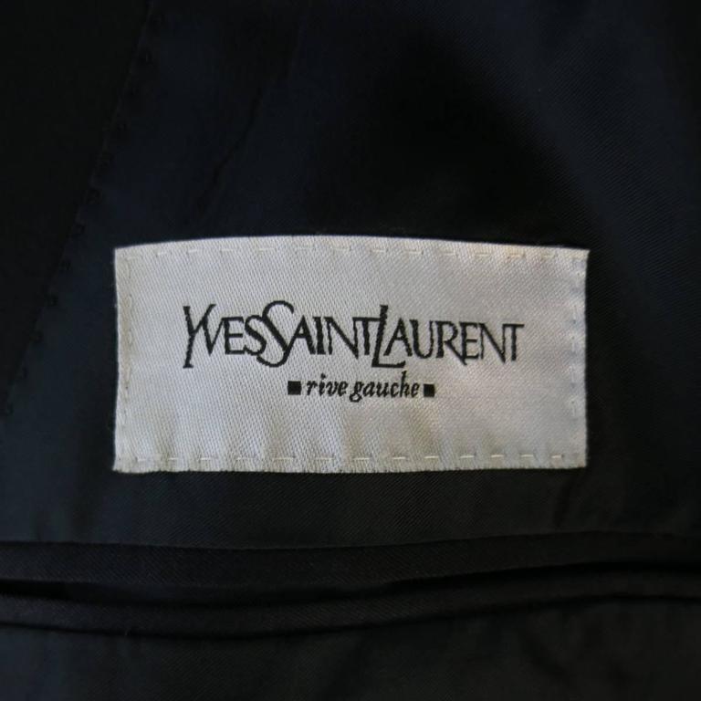 Men's YVES SAINT LAURENT 40 Regular Navy Wool Peak Lapel Sport Coat 7