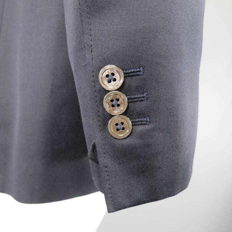 Men's YVES SAINT LAURENT 40 Regular Navy Wool Peak Lapel Sport Coat 5
