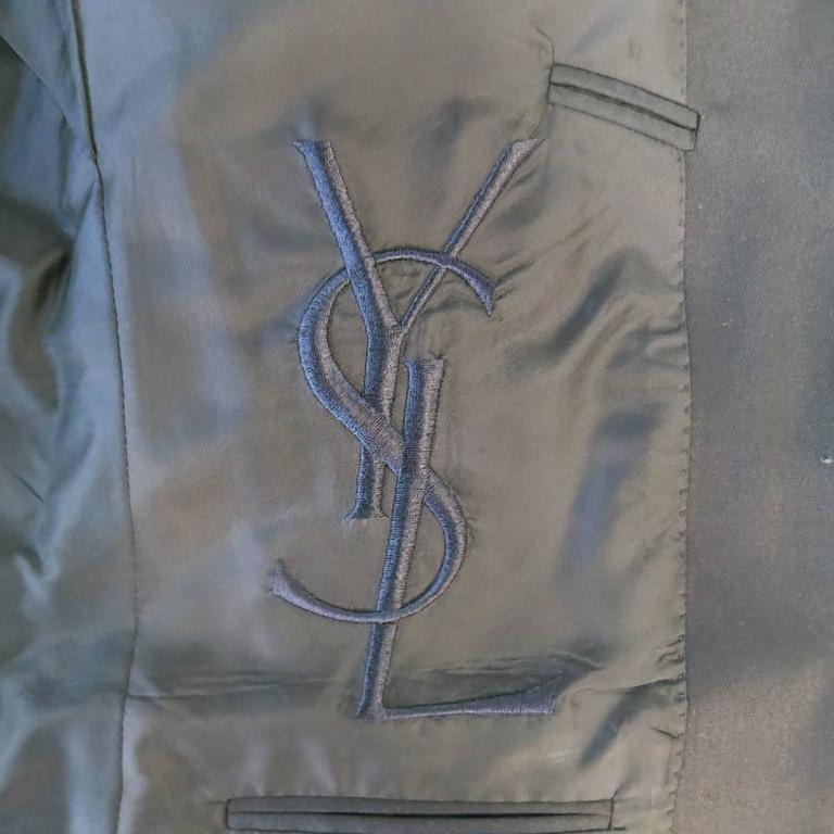 Men's YVES SAINT LAURENT 40 Regular Navy Wool Peak Lapel Sport Coat 6