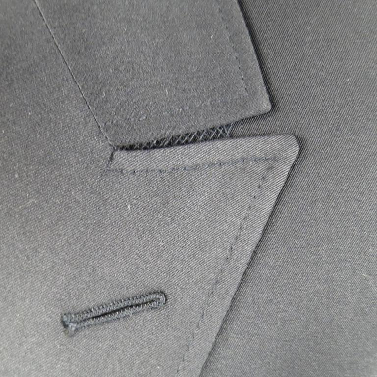Men's YVES SAINT LAURENT 40 Regular Navy Wool Peak Lapel Sport Coat 2