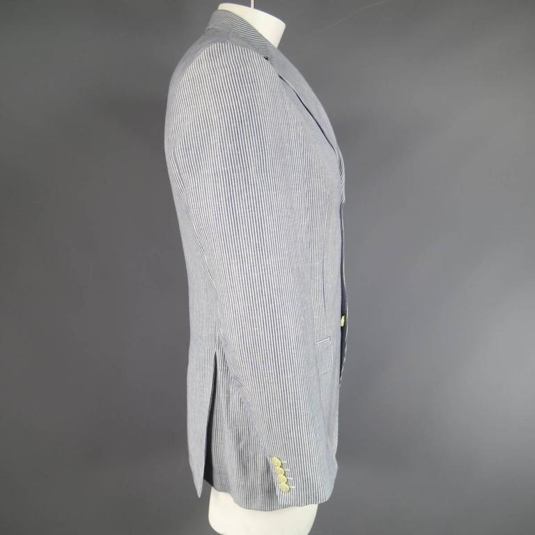 Men's PAL ZILERI 40 Regular Blue & White Striped Linen / Wool 3 Button Sport Coa 3