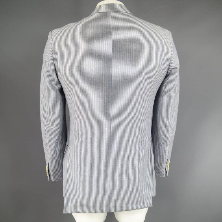 Men's PAL ZILERI Sport Coat - 40R Blue & White Striped Linen Wool 3 Button In Excellent Condition For Sale In San Francisco, CA