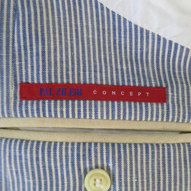 Men's PAL ZILERI Sport Coat - 40R Blue & White Striped Linen Wool 3 Button For Sale 1