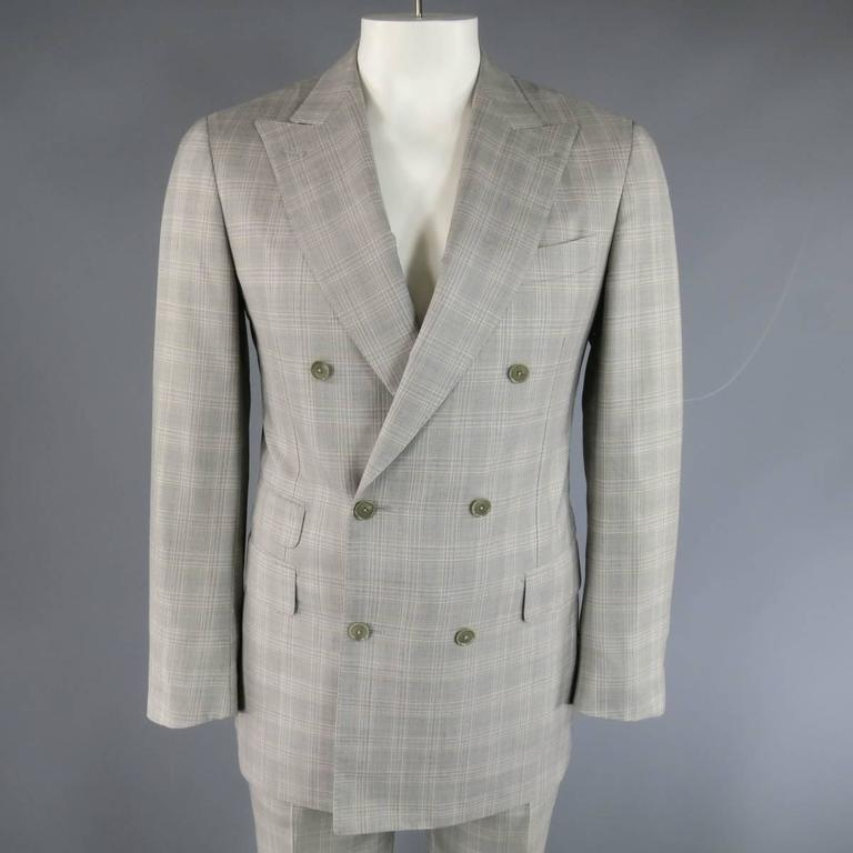 PAL ZILERI 40 Regular Light Gray PLaid Wool/Silk Double Breasted ...