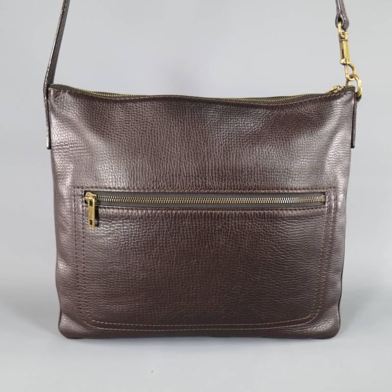 LOUIS VUITTON Brown Utah Textured Leather Sac Plat Messenger Bag 1