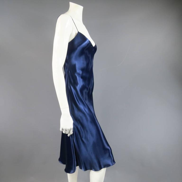 Ralph Lauren Collection Size M Blue Silk Satin Spaghetti