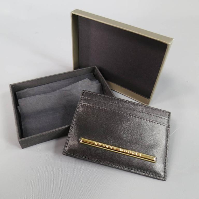 Women's or Men's New ROLAND MOURET Card Case - Black Leather Gold Engraved Metal  For Sale