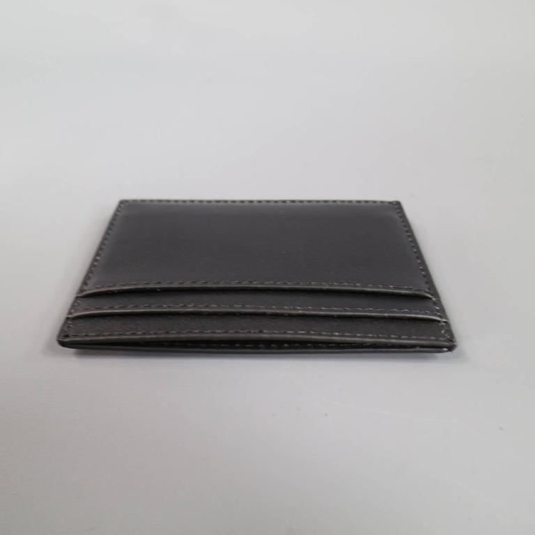 New ROLAND MOURET Card Case - Black Leather Gold Engraved Metal  In New Condition For Sale In San Francisco, CA