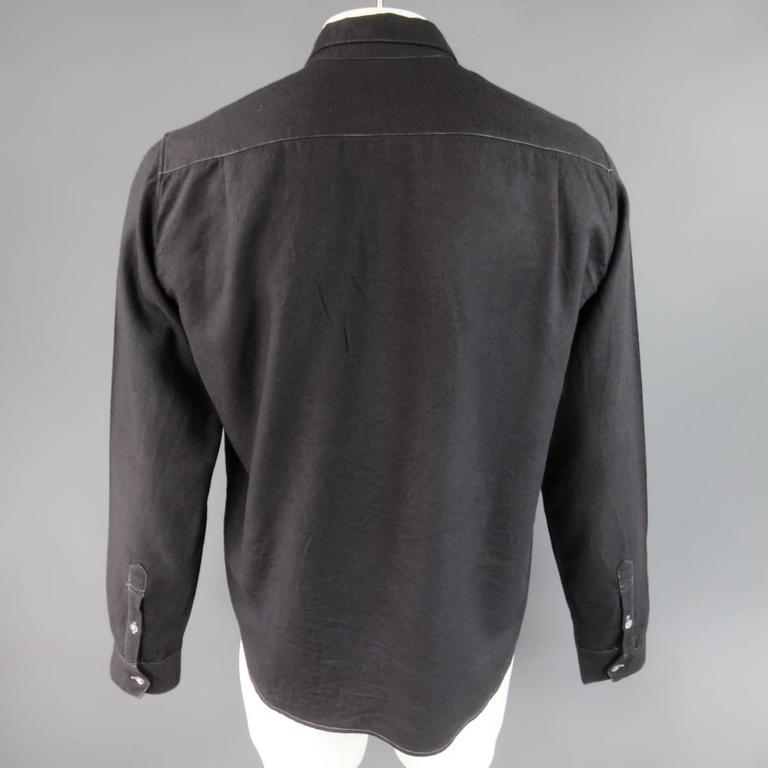 ANN DEMEULEMEESTER Size M Charcoal & Lavender Color Block Wool / Cotton Shirt 5