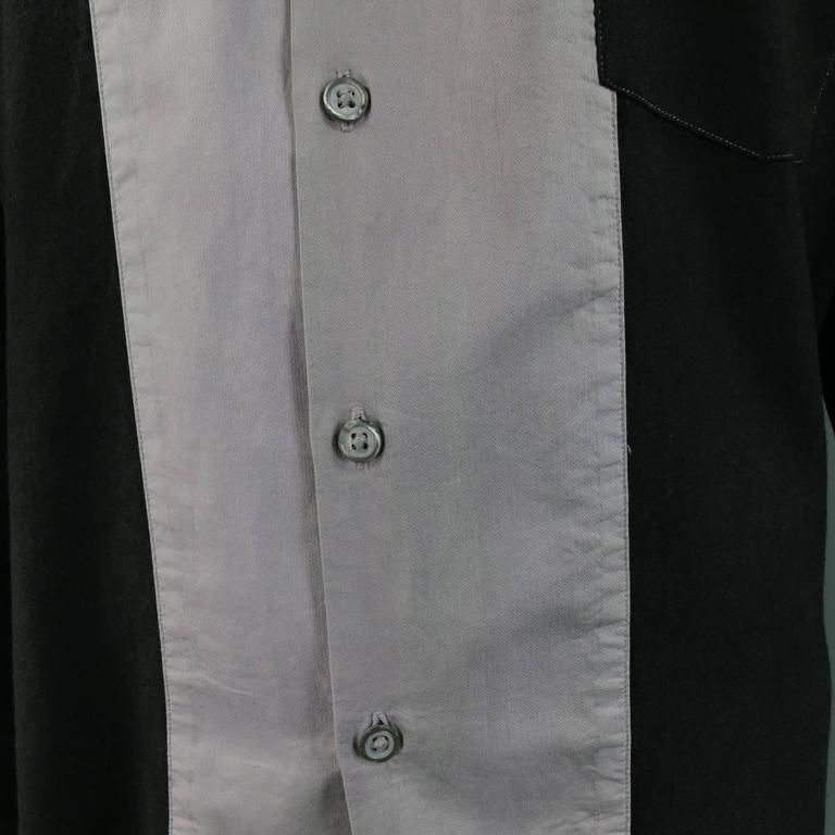 ANN DEMEULEMEESTER Size M Charcoal & Lavender Color Block Wool / Cotton Shirt 3