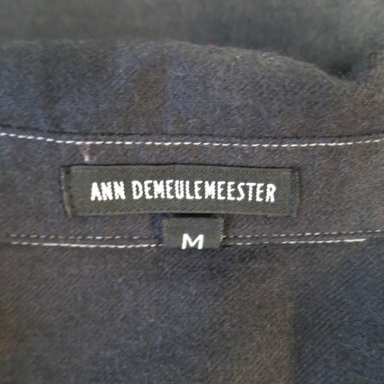 ANN DEMEULEMEESTER Size M Charcoal & Lavender Color Block Wool / Cotton Shirt 7