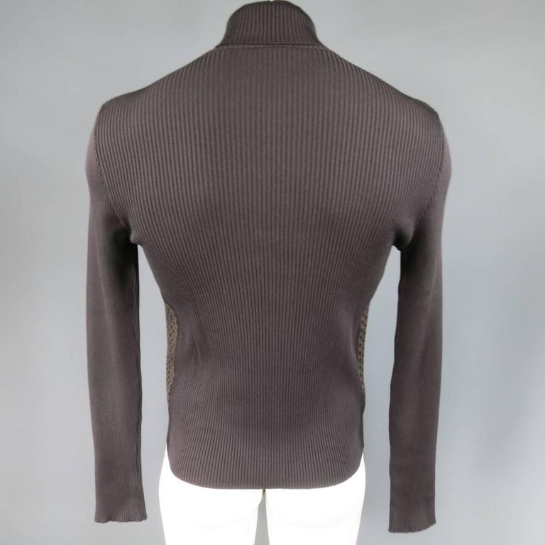 Men 39 s gucci size l brown ribbed g monogram print silk for Mens dress shirt monogram location