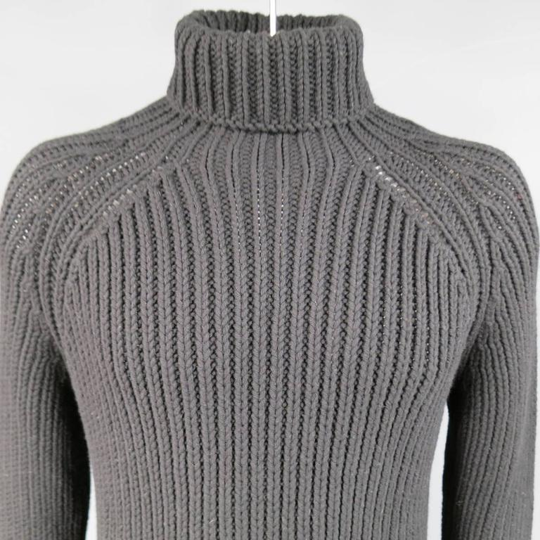 Men's LOUIS VUITTON Size L Black Cashmere Blend Chunky Knit ...