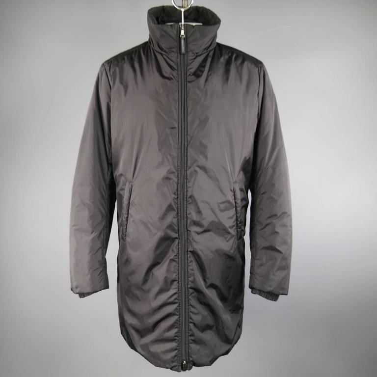 Men S Prada 40 Black Nylon Double Hooded Rain Jacket At