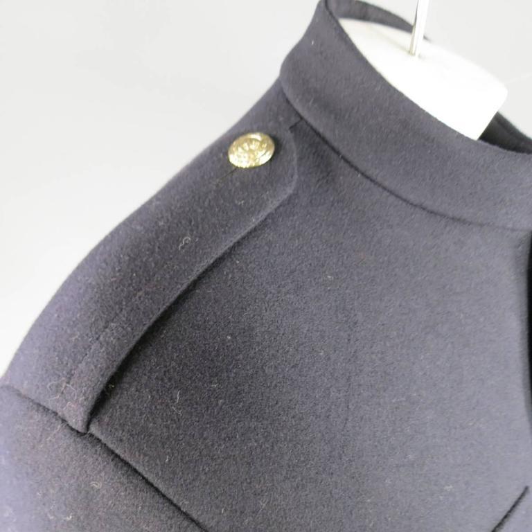 Men's RALPH LAUREN Purple Label 42 Regular Navy Wool / Cashmere Military Jacket 4