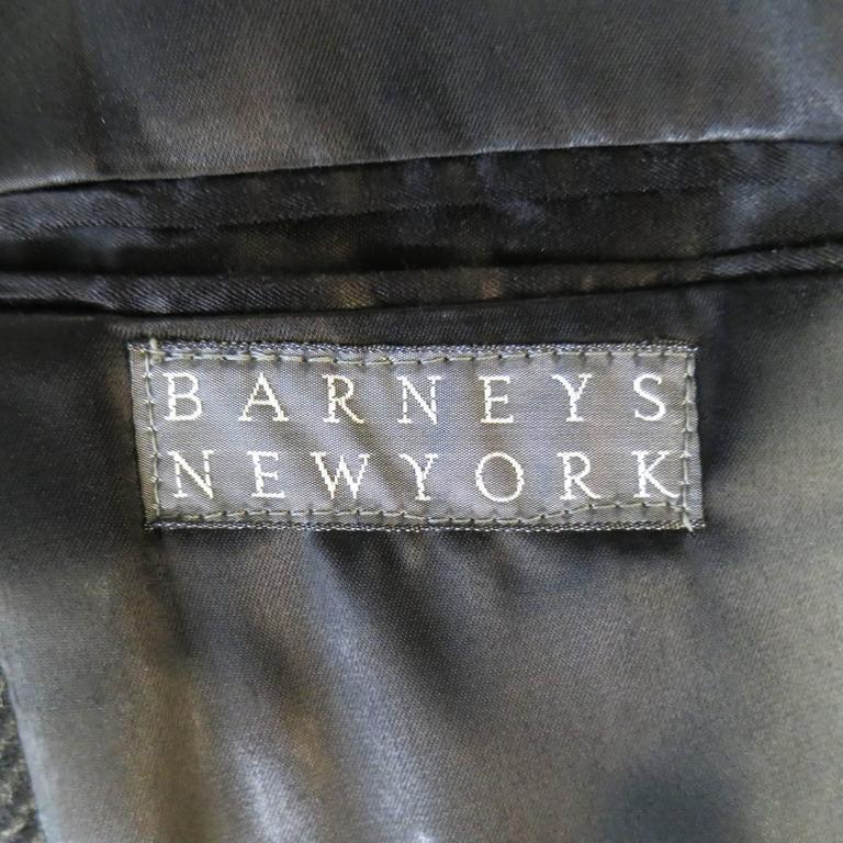 BARNEY'S NEW YORK 42 Charcoal Herringbone Wool Velvet Collar Hidden Placket Coat 1