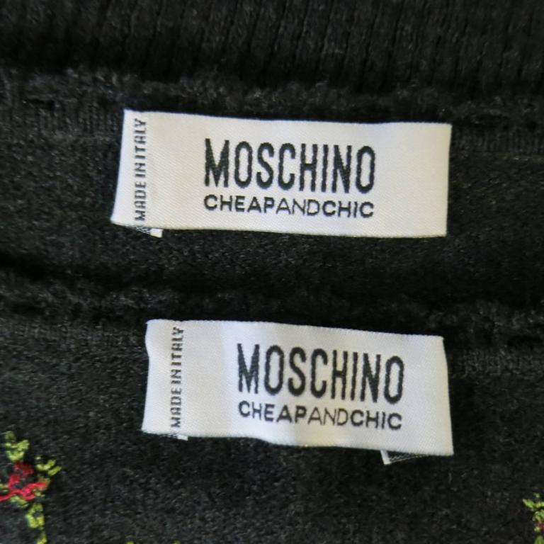 MOSCHINO Cheap & Chic Size 6 Charcoal Wool Floral Embroidered Cardigan Set 10
