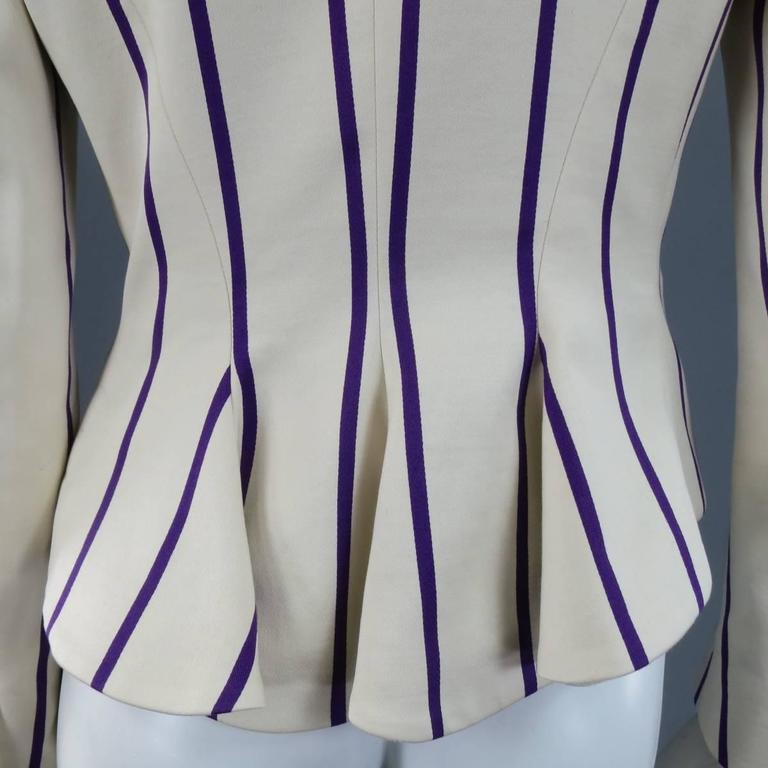 RALPH LAUREN Collection 8 Cream & Purple Striped Embellished Equestrian Jacket 4