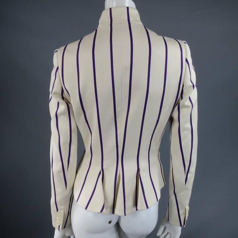 RALPH LAUREN Collection 8 Cream & Purple Striped Embellished Equestrian Jacket 3