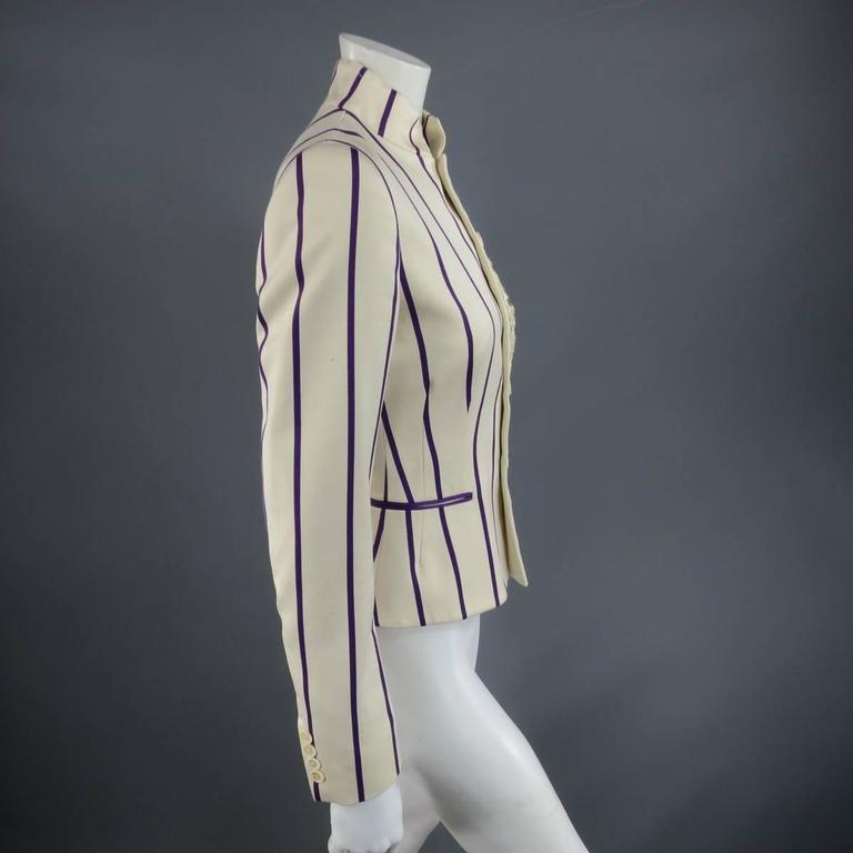 RALPH LAUREN Collection 8 Cream & Purple Striped Embellished Equestrian Jacket 2