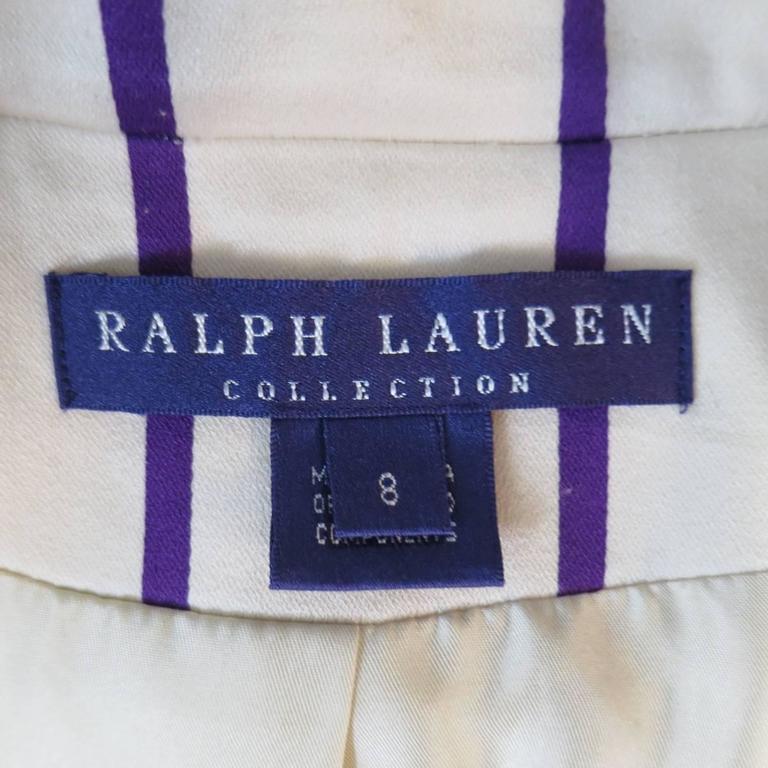 RALPH LAUREN Collection 8 Cream & Purple Striped Embellished Equestrian Jacket 5