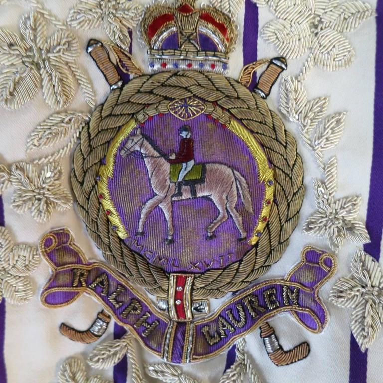 White RALPH LAUREN Collection 8 Cream & Purple Striped Embellished Equestrian Jacket