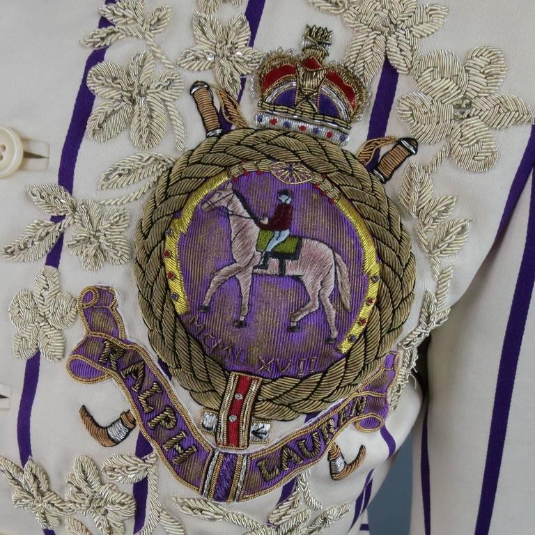 RALPH LAUREN Collection 8 Cream & Purple Striped Embellished Equestrian Jacket 1