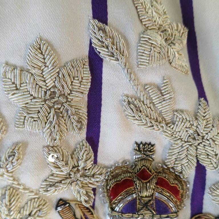 Women's RALPH LAUREN Collection 8 Cream & Purple Striped Embellished Equestrian Jacket