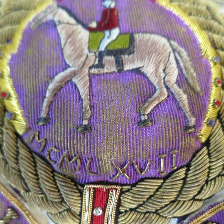 RALPH LAUREN Collection 8 Cream & Purple Striped Embellished Equestrian Jacket In Excellent Condition In San Francisco, CA