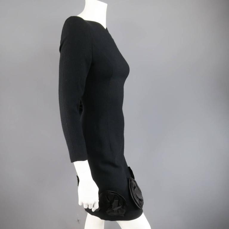 Vintage CAROLINA HERRERA 4 Black Wool Blend Long Sleeve Flower Hem Sheath Dress 4