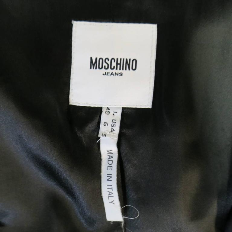 MOSCHINO Jeans Size 6 Black Cotton / Nylon Wide Collar Rainbow Cuff TrenchCoat For Sale 5