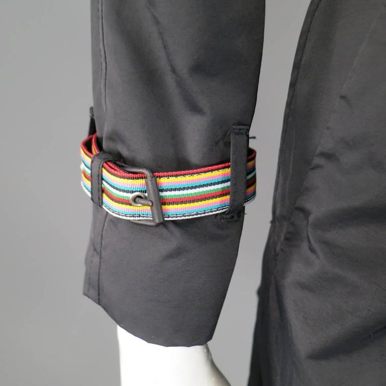 Women's MOSCHINO Jeans Size 6 Black Cotton / Nylon Wide Collar Rainbow Cuff TrenchCoat For Sale