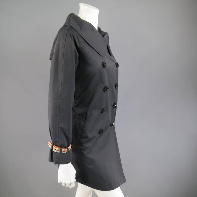 MOSCHINO Jeans Size 6 Black Cotton / Nylon Wide Collar Rainbow Cuff TrenchCoat For Sale 1