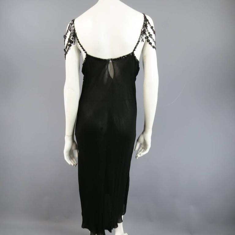 JEAN PAUL GAULTIER Size 10 Black Sheer Crepe Layered Button Strap Cocktail Dress 8