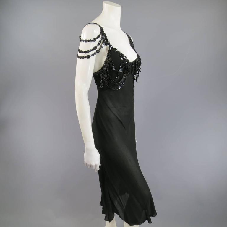 Jean Paul Gaultier Black Sheer Crepe Layered Button Strap Cocktail Dress Size 10 For Sale 2