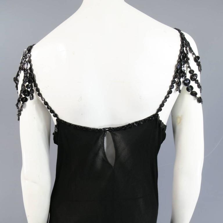 Jean Paul Gaultier Black Sheer Crepe Layered Button Strap Cocktail Dress Size 10 For Sale 3