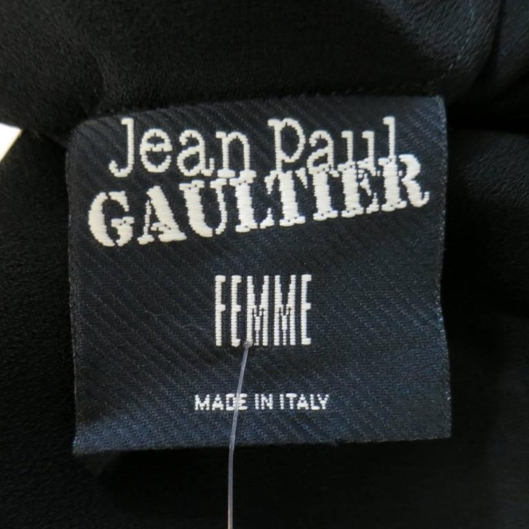 Jean Paul Gaultier Black Sheer Crepe Layered Button Strap Cocktail Dress Size 10 For Sale 5