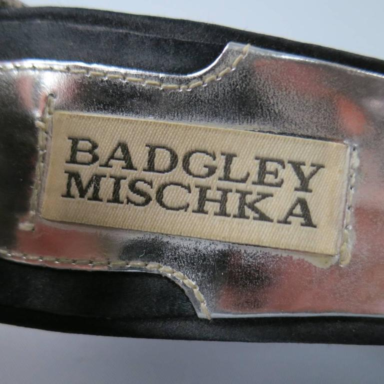 BADGLEY MISCHKA Size 7.5 Metallic Crystal Cross Strap Leather Sandals 8