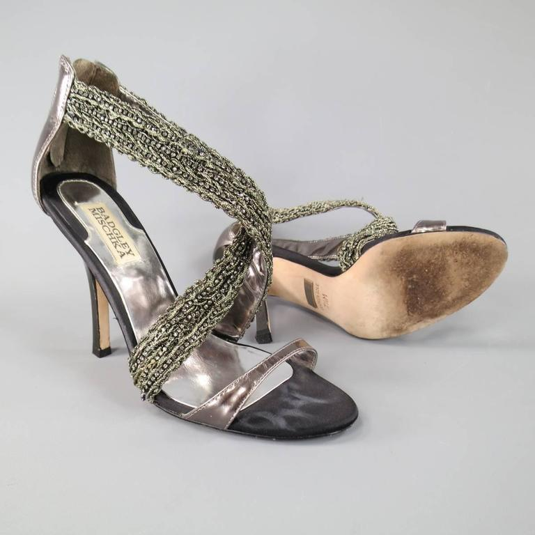 BADGLEY MISCHKA Size 7.5 Metallic Crystal Cross Strap Leather Sandals 2