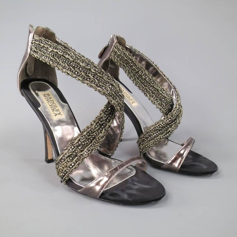 BADGLEY MISCHKA Size 7.5 Metallic Crystal Cross Strap Leather Sandals 4