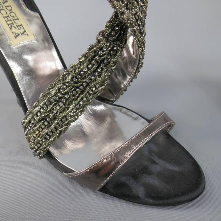 BADGLEY MISCHKA Size 7.5 Metallic Crystal Cross Strap Leather Sandals 7