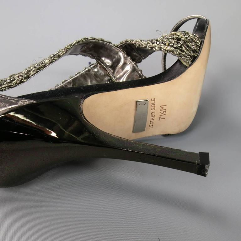 BADGLEY MISCHKA Size 7.5 Metallic Crystal Cross Strap Leather Sandals 9