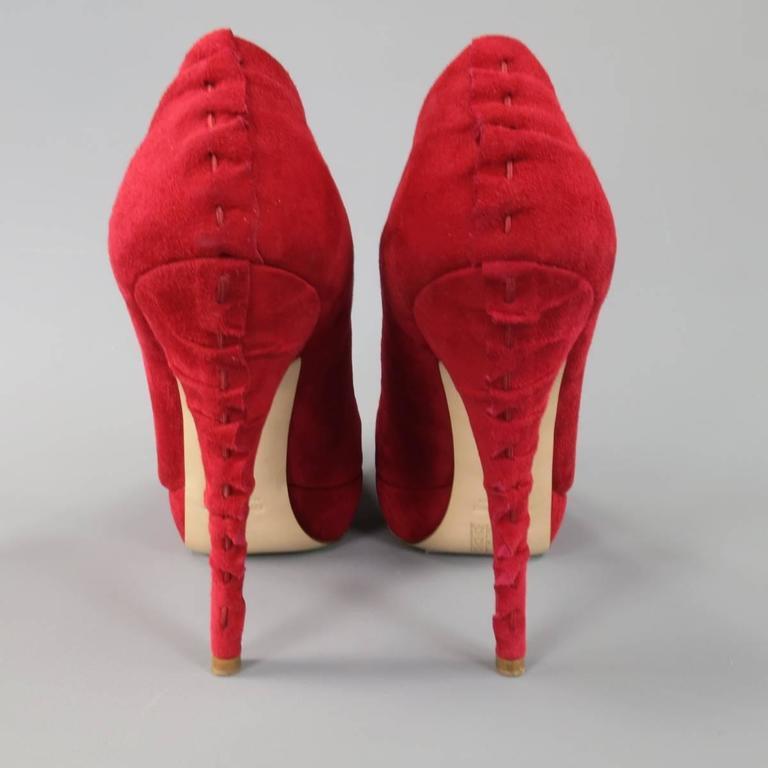 Women's MIU MIU Size 8.5 Red Suede Peep Toe Ruffle Heel Platform Pumps For Sale