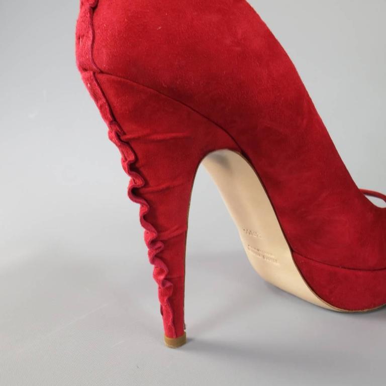 MIU MIU Size 8.5 Red Suede Peep Toe Ruffle Heel Platform Pumps For Sale 1