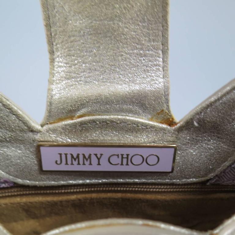 JIMMY CHOO Metallic Silver Leather Mini Tulita Hobo Purse 10
