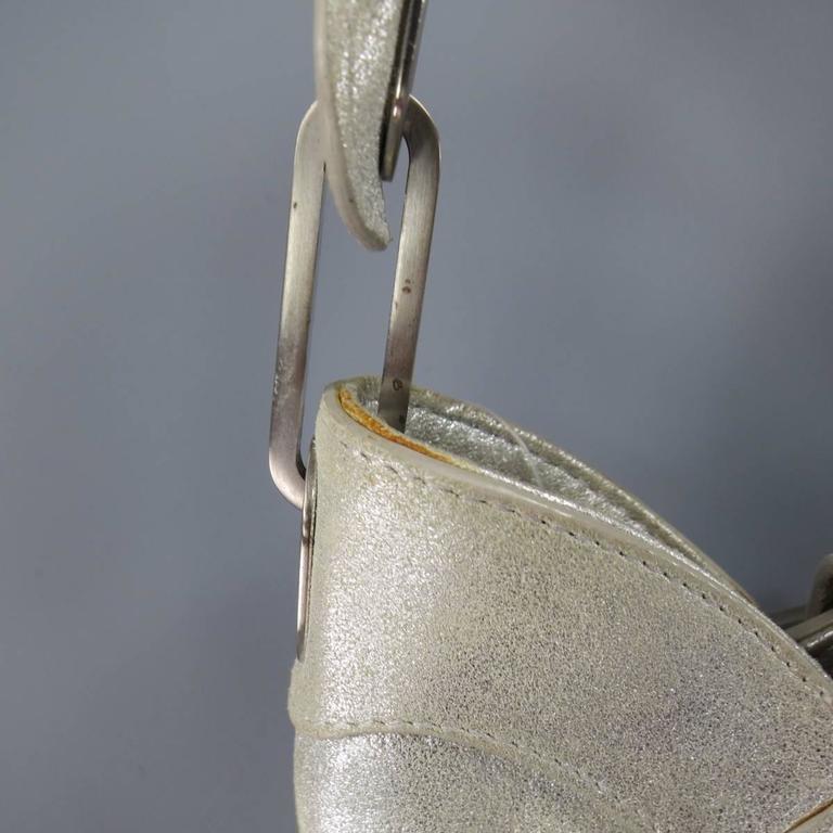 JIMMY CHOO Metallic Silver Leather Mini Tulita Hobo Purse 5