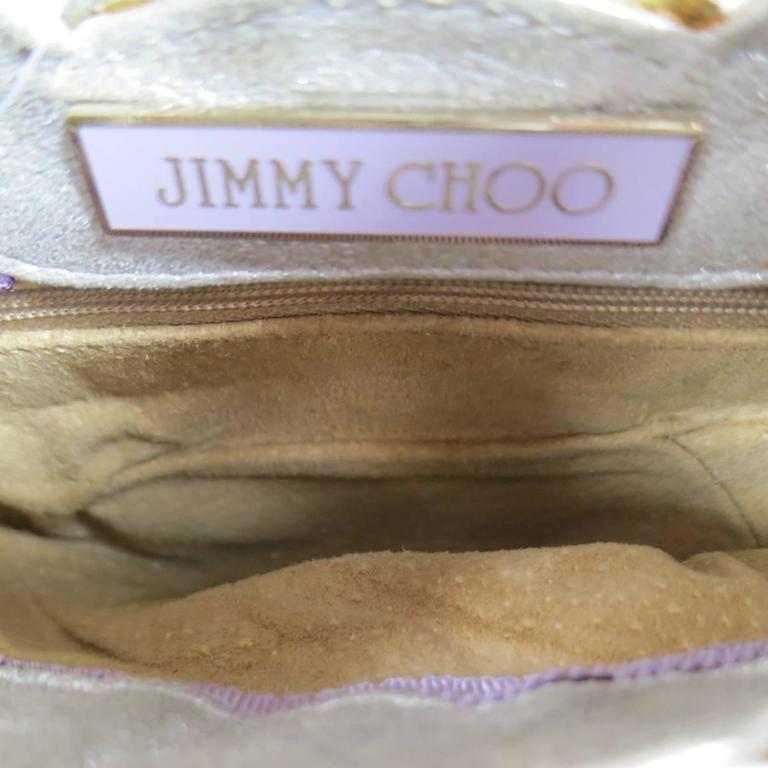 JIMMY CHOO Metallic Silver Leather Mini Tulita Hobo Purse 9