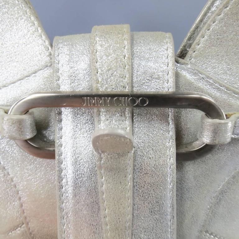 JIMMY CHOO Metallic Silver Leather Mini Tulita Hobo Purse 3